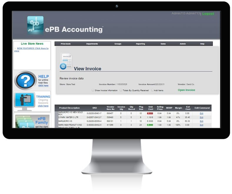 ePB Accounting for convenience stores