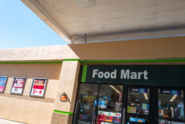 Exterior facade of a convenience store.