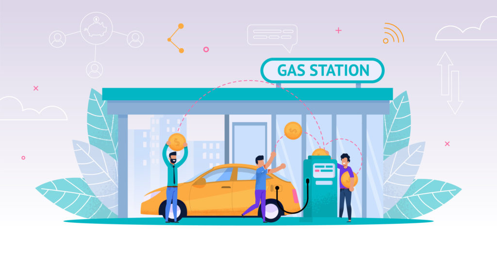 Vector illustration symbolizing automated fuel management system