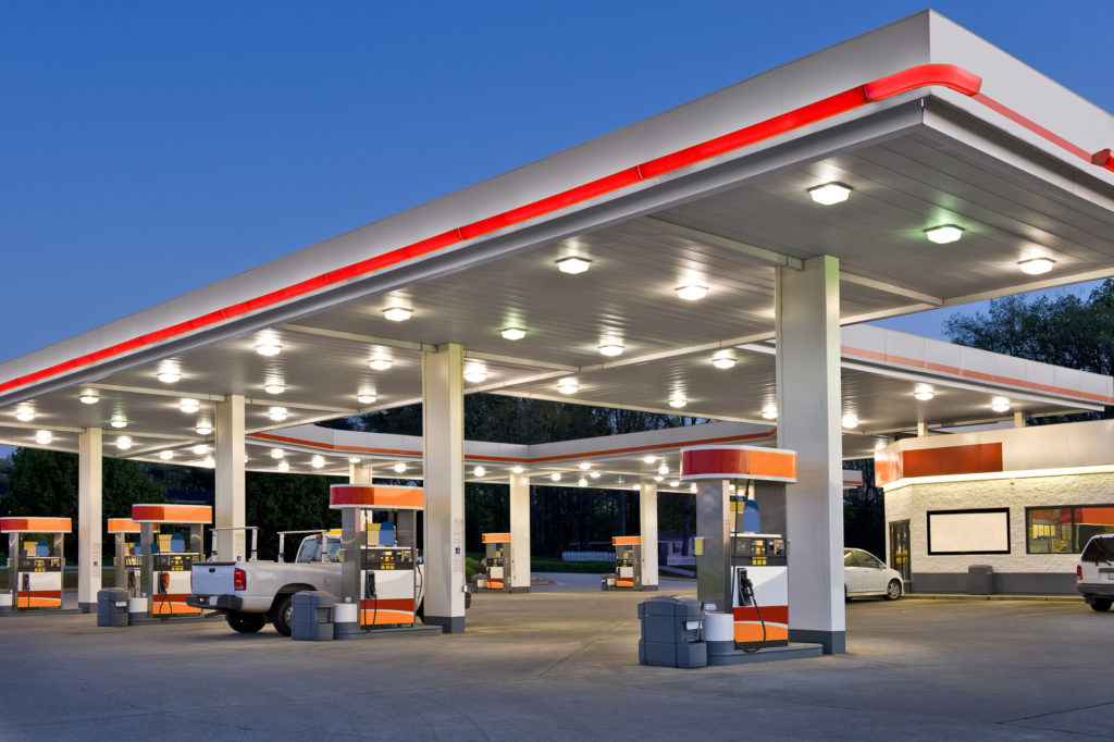 Fuel station at dusk