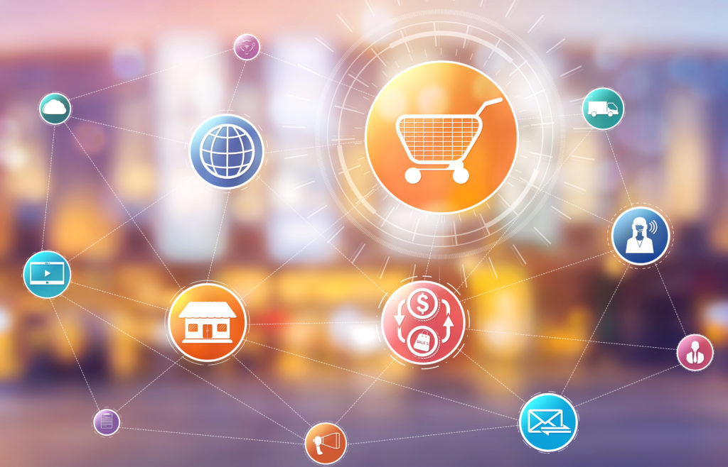 icons connected by internet automation theme symbolizing inventory management in convenience stores